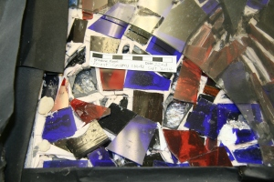 Detail of the exterior of the panel after the removal of one part of the glass backing plate - Exterior - 'Priest'.