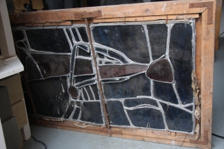 The reverse of St Anthony, showing the construction of the panel and much 'plating' or layering of the glass