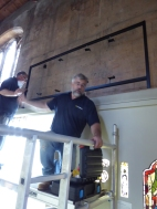 Installing the frame for St Anthony from the scaffold